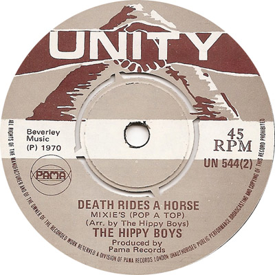 The Hippy Boys - Death Rides A Horse, Mixie\'s (Pop A Top)