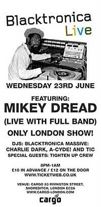 Flyer - Mikey Dread concert - June 2003
