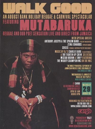 Flyer - Mutabaruka concert - August 2005